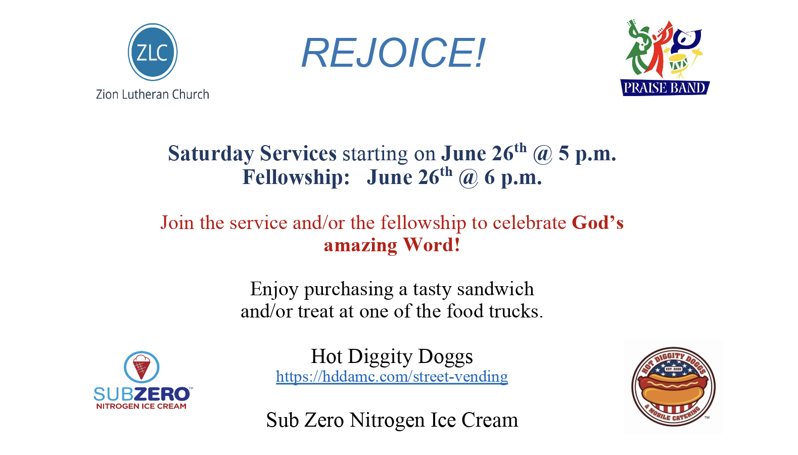 June 26: Saturday Service & Fellowship